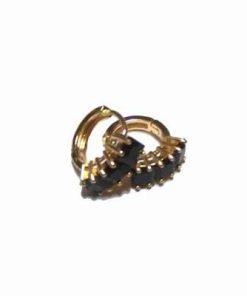 Cercei din metal nobil cu cristal tip turmalina
