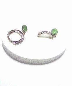 Cercei din metal nobil cu cristal tip smarald