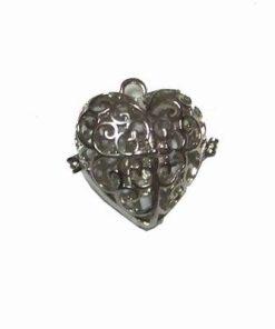 Pandant inima din metal nobil care se deschide