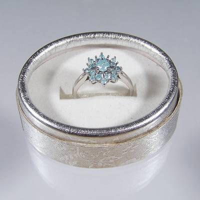 Inel din argint cu cristale de larimar