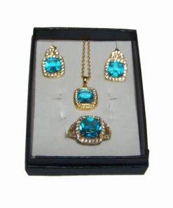 Set placat cu aur si cristal Blue Sky pentru succes