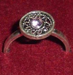 Inel din argint cu cuart roz - model unicat pentru copii