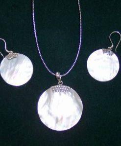 Set din argint cu scoica marina