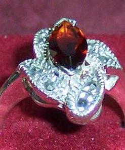 Inel din argint cu cristal de granat si marcasit - unicat!