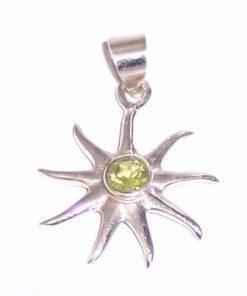 Pandantiv -Soare- din argint cu olivina - deosebit