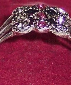 Inel din argint si  cristale de cuart roz