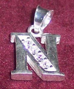Initiala numelui din argint cu strasuri transparente - N