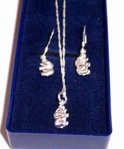 Set de bijuterii din argint cu elefantul norocos