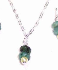 Set de bijuterii din argint si smarald - unicat!