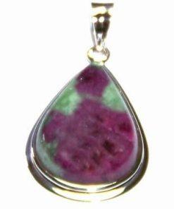 Pandantiv din argint si cristal de rubin cu smarald