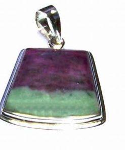 Pandantiv din argint si cristal de rubin cu zoisit - unicat!