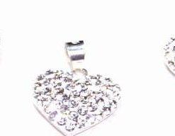 Set de bijuterii din argint, inimiorare si strasuri albe