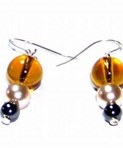 Cercei din chihlimbar si perle, cu argint