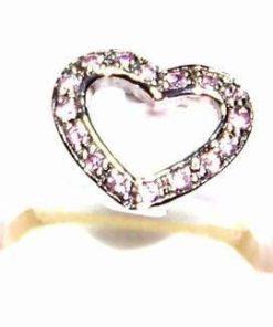 Inel cauciucat cu simbol din argint - inima cu strasuri