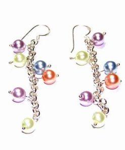 Cercei fantezie din argint, cu perle multicolore