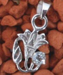 Floare de lotus din argint cu cristal de topaz - pandantiv