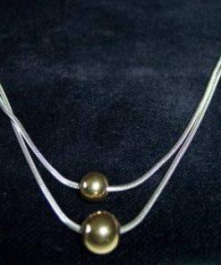 Colier dublu din argint cu sfera aurie