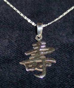 Ideograma de viata lunga din argint pe lantisor din argint