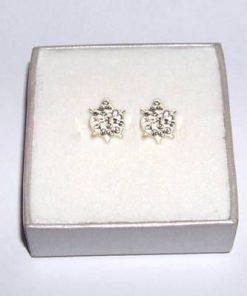 Cercei din argint cu cristale argintii - broscuta testoasa