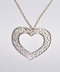 Inima pasiunii din argint pe lant din argint