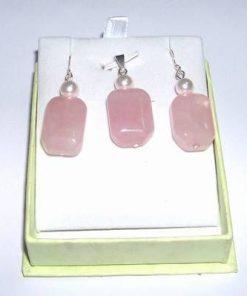 Set compus din cercei si pandant din argint cu cuart roz