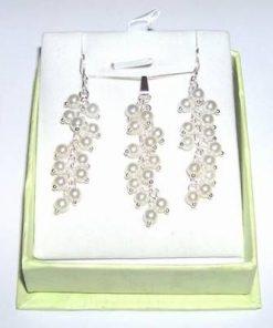 Set din argint, pandant, lant si cercei, cu perle