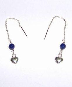 Cercei din argint cu lapis lazuli - Inima