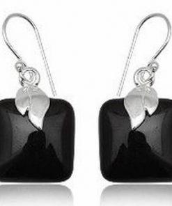 Cercei din argint cu cristal de turmalina neagra