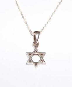 Pandantiv din argint - Steaua lui David, pe lant din argint