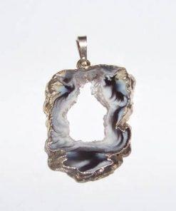 Geoda din agat in montura argintata