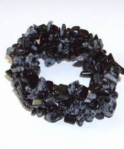 Bratara din obsidian pe elastic