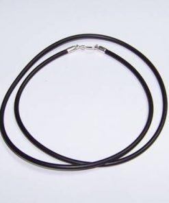 Siret din silicon negru cu inchizatoare din argint
