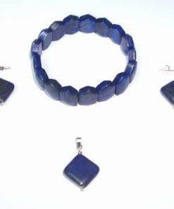 Set din lapis lazuli compus din bratara, pandantiv si cercei