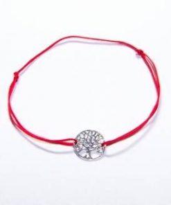 Simbol din argint pe siret rosu reglabil - Copacul vietii