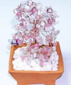 Copacel cu cristale de cuart roz si cuart fumuriu