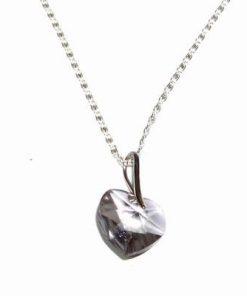 Inima din cristal Swarovski multifatetat pe lant din argint