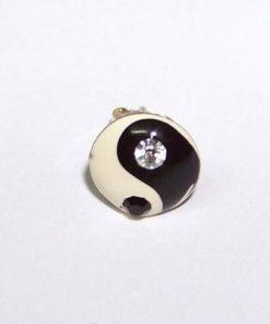 Cercel din argint, Yin-Yang, cu doua cristale multifatetate