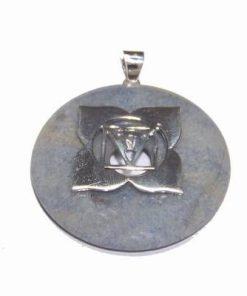 Chakra Muladhara din argint cu cristal de cuart albastru