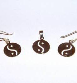 Set din argint - cercei si pandantiv - Yin-Yang