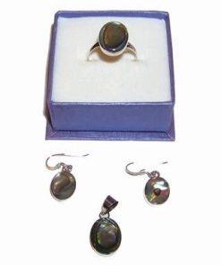 Set din argint cu scoica marina/Abalone