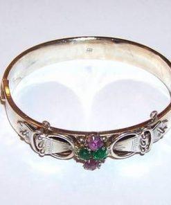 Bratara din argint, fixa, cu cristale de ametist