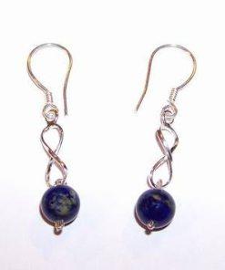 Cercei din argint cu cifra 8 si sfere de lapis lazuli