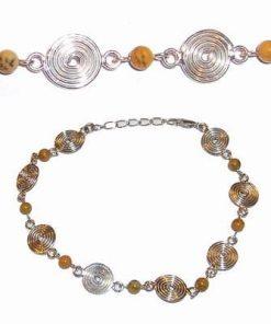 Bratara din argint cu Spirala Elevarii Reiki si opal