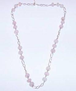 Colier din argint cu cristale de cuart roz