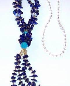 Colier din cristale de lapis lazuli si cristal de stanca