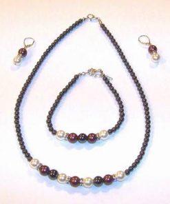 Set din argint cu perle de cultura, hematit si cristale