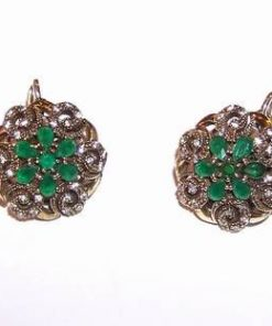 Cercei din argint cu cristale de smarald