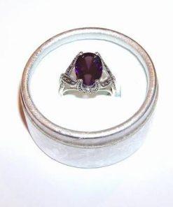Inel din argint cu cristal de ametist multifatetat
