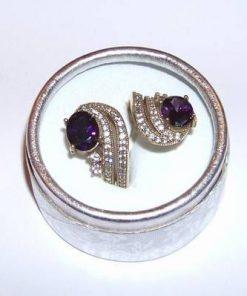 Inel REGLABIL din argint cu cristal de ametist multifatetat