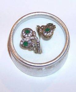 Inel REGLABIL din argint cu cristale de smarald